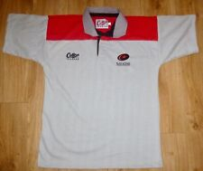 "Saracens Rugby Shirt-Classic Hoops Grey/Red Yoke-Large(42""/44 34;)-New-Unworn"