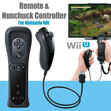 Built in Motion Plus Remote Controller + Nunchuck + Case for Nintendo Wii Black
