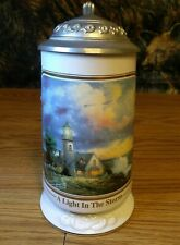1998 Thomas Kinkade A Light In The Storm Longton Crown Seaside Memories Stein