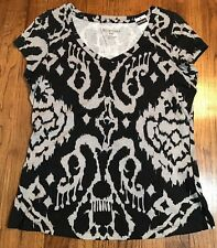 NEW WITH TAGS BAY STUDIO COTTON BLEND BLACK & GRAY PRINT CAP SLEEVE TOP SIZE PM