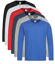 Plain Cotton BLACK BLUE BROWN GREEN GREY WHITE Long Sleeve Tee T-Shirt Tshirt