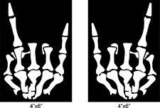 "Skeleton hand metal horns sticker Rock & Roll skull vinyl window decal 4""X6"" L&R"