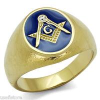 Masonic Mason Oval Blue Top Gold EP One Crystal Mens Ring