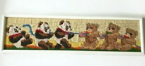 Crewel Baby Bears Playing Tug of War Framed Completed 25 x 7  Baby's Room Decor
