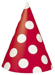 Ruby Red Decorative Dots Polka Dot Party Cone Hats x 8
