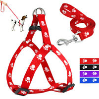 Cute Paw Print Small Dog Harness and Leash set Soft Nylon for Pet Puppy Walking