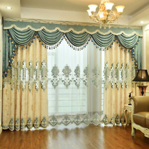 Floral Embroidery Chenille Curtain Drape Fabric Room Sun-shade Semi-finished