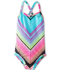 Roxy Girls -4- 1 Pc Swimsuit Cross Over Pink Blue Stripe Monokini Teenie Wahine