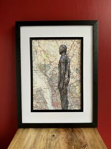 Anthony Gormley's;Another Place.A4. Pen Drawing on Map Of Liverpool.Unframed