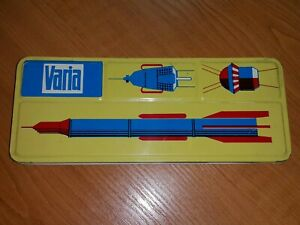VINTAGE VARIA PENCIL BOX 60s ART DECO DDR GDR COSMIC AGE SPACE MOTIVE ROCKET