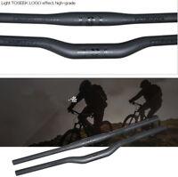 Toseek full Carbon Fiber MTB Road Bike Handlebar Riser Flat Bar 31.8*600-700mm