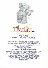 PERSONALISED THANK YOU TEACHER POEM LEAVING GRADUATION END OF TERM GIFT