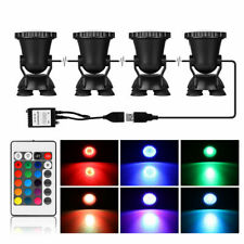 Submersible 144 Led Rgb Pond Spot 4 Lights Underwater Pool Fountain +Ir Remote