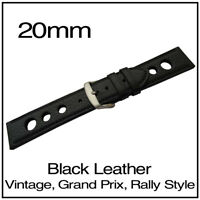 • 20mm Black Buffalo Luxury Leather Vintage Grand Prix Rally Style Watch Strap •