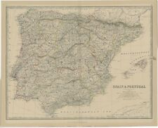 Antique Map of Spain and Portugal by Johnston (1882)