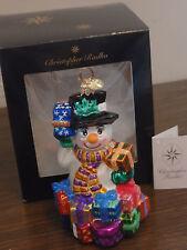 Christopher Radko Great Gifts Galore Snowman Christmas Holiday Ornament Nib!