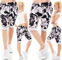 ITALY Damen Shorts Bermuda Capri kurze Hose Capri Knopfleiste Camouflage 36-40