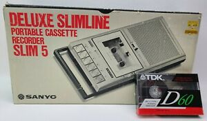 Vintage 1980's Sanyo SLIM 5 Tape Cassette Recorder w/ Adapter, Box and Papers