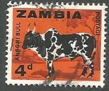 Stamp, Zambia Scott# 8, Angoni Bull, 4p, Orange & Black, Used, 1964