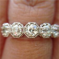 Engagement Wedding Ring 14K Gold Finish 5 Stone Round Cut Moissanite Art Deco