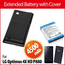 Erweiterter Akku für LG Optimus 4X HD P880 Akku Batterie + Schwarz Cover 4500mAh