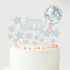 Balloon Dessert Decor Cake Topper Cupcake Flag Cake Insert Happy Birthday