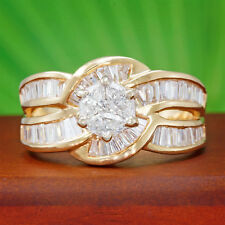 2 carat tw Diamond Wedding Ring 14k Yellow Gold Cluster Baguette Semi-mount ct
