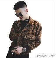 Mens Leopard Print Zipper Casual Jacket Motorcycle Hip-hop Street Fashion Coats
