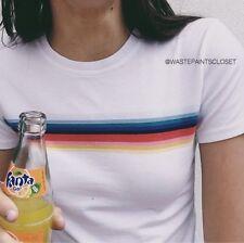 Brandy Melville Rainbow Top Shirt White SLIGHTLY LONGER VERSION