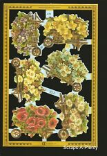 Die Cut Scrap Mamelok English - Wheelbarrow & Flowers  NICE (Archives Coll)  A78