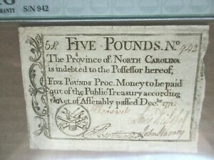Colonial Currency North Carolina 5 Pounds 1771 PMG Very Fine 25