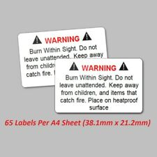 65 Wax Melt Candle Stickers / Labels - Safety Warning Law Legal
