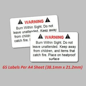 130 Wax Melt Candle Stickers / Labels - Safety Warning Law Legal