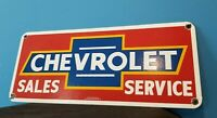 VINTAGE CHEVROLET PORCELAIN BOW-TIE GAS AUTO TRUCKS SERVICE SALES DEALER SIGN