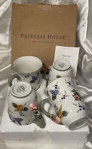 Princess House Vintage Garden Floral Coffee Tea Mug BRAND NEW IN BOX LOT OF 4