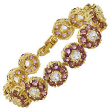 Melina Jewelry Rhinestone Round Cut Purple Amethyst Tennis Statement Bracelet