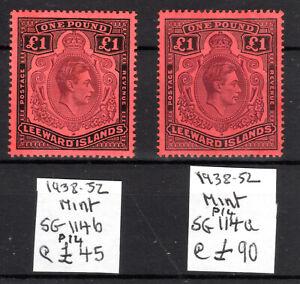 Leeward Islands £1 P14 both shades SG114b 114a Cat £135 [L210521]