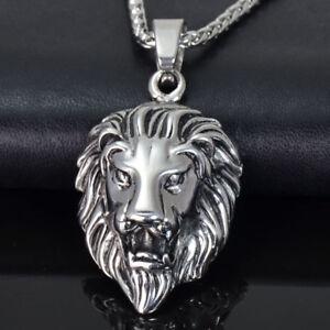 Design Edelstahl Herren Kette Halskette mit 3D Anhänger Löwenkopf Löwe LEO NEU