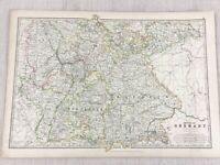 1896 Antique Map of The German Empire Germany Old 19th Century Original Johnston