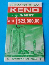 Vintage Keno At The Mint Ticket Downtown Las Vegas Pamphlet