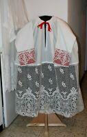 Aube de prêtre prélat évêque broderie a la main du Puy en Velay XIXe Siècle