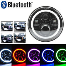 "7"" CREE LED Headlight Bluetooth RGB LED HALO Light For GMC Pickup Mack Ford Jeep"