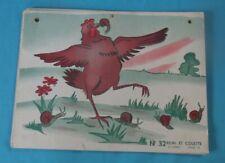 Ancienne Affiche scolaire Remi et Colette la tulipe et la poule