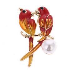 New On Card Love Birds Sitting on Pearl Red Orange Enamel Gold Metal Brooch