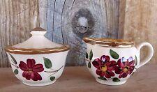 VTG WADE Mini Creamer & Covered Sugar Bowl Pretty Cranberry Red Flowers England