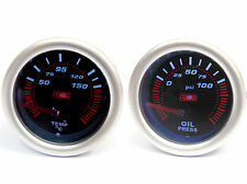 Universal 52mm Smoked Face Oil Pressure & Temp Gauge supplied with 1/8npt Sender