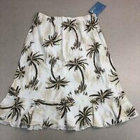 NWT LuLu B Light Cotton Knit Pull On Skirt Brown White Palm Tree Print Sz S NEW