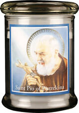 SAINT PADRE PIO LED LIGHT GLASS JAR CANDLE - STATUES PICTURES CRUCIFIXES LISTED