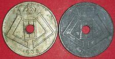 1938 & 1946 Belgium 25 Centimes   ID #77B-9,10