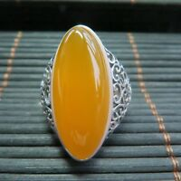New Long Natural Yellow Chalcedony with 925 Sterling Silver Ring Size 4-10